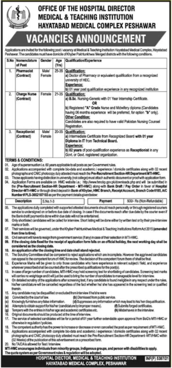 Hayatabad Medical Complex HMC Peshawar Jobs 2021