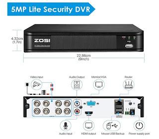ZOSI H.265+ 5MP CCTV DVR Recorder with Hard Drive 2TB