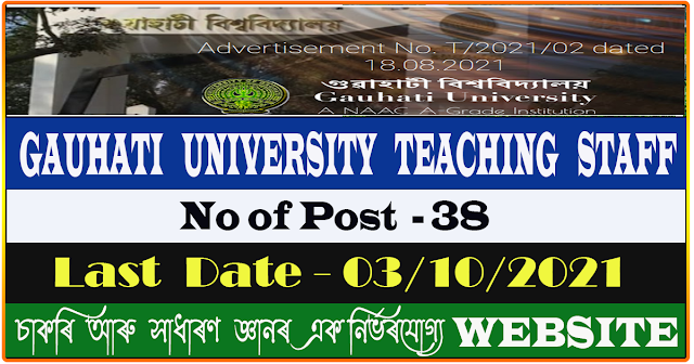 Gauhati University Recruitment 2021 - Teaching Staff Vacancy