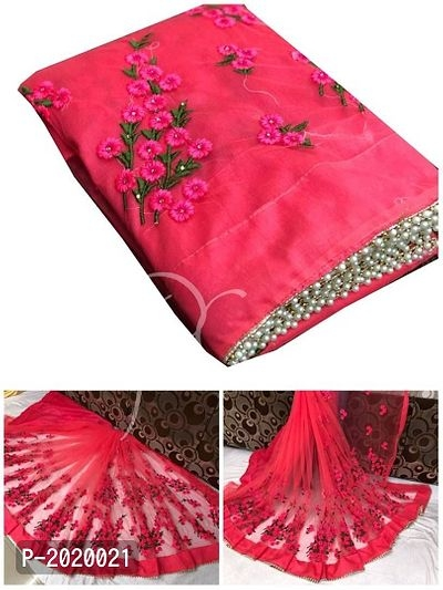 Bollywood Style Embroidery Work & Pearl Border Net Saree with Blouse   Embroidery Work and Pearl Border Net Saree   Net Saree Online Shopping  