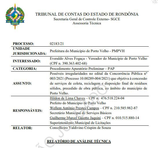 Tribunal de Contas determina à Prefeitura de Porto Velho revise irregularidades no Edital da licitação do lixo