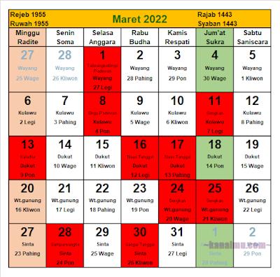 kalender jawa bulan maret 2022 - kanalmu
