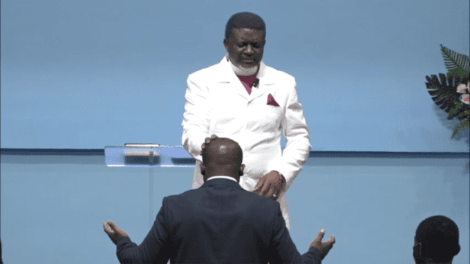 HOT VIDEO: Bishop Charles Agyinasare anoints Sam George to fight LGBTQI+