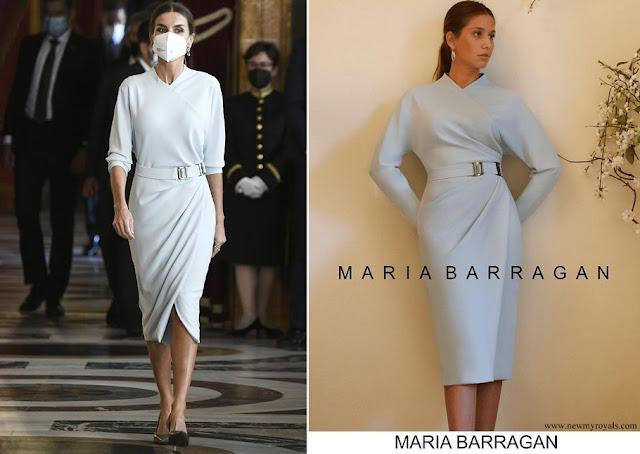 Queen Letizia wore Maria Barragan dress