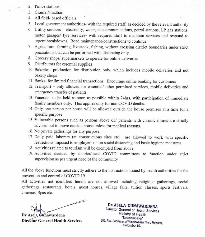 functions permitted under quarantine curfew