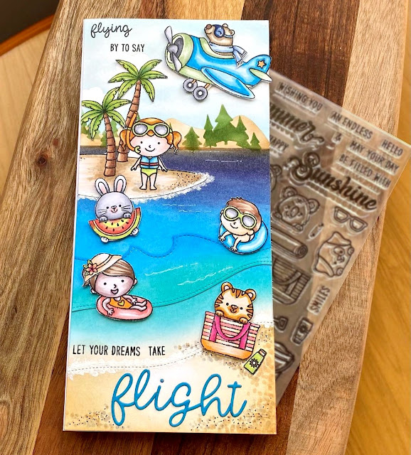 Sunny Studio Stamps: Beach Babies, Beach Buddies, Plane Awesome & Loopy Letters Dies Card by Create with Clarissa