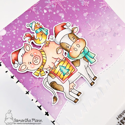 Dairy Little Christmas Card by Samantha Mann for Newton's Nook Designs, Distress Oxide Inks, Christmas, Christmas Card, Card Making, handmade cards, #newtonsnook #newtonsnookdesigns #distressoxideinks #christmascard #christmas