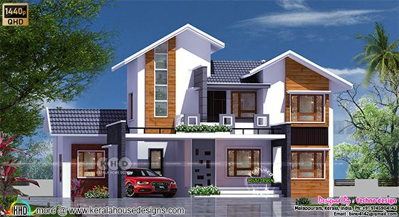 Sloping roof mix house front view