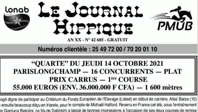 programme quinté Pronostic jeudi 14/10/2021