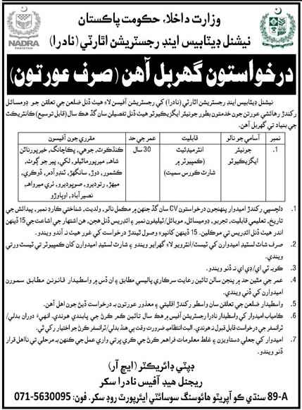 National Database and Registration Authority NADRA Sindh Jobs 2021