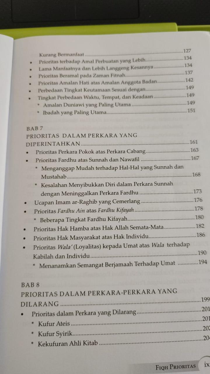 Daftar isi buku Fiqh Prioritas - Dr. Yusuf Al Qaradhawi (3)