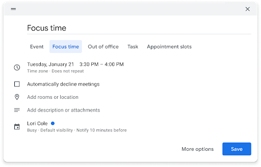Focus timer is now an entry type in Calendar
