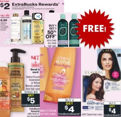free big hair loreal, garnier, clairol, love & beauty cvs deals