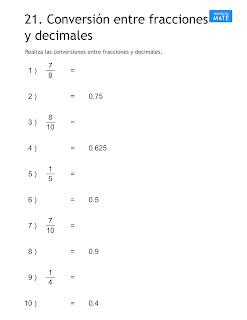 conversión entre fracciones y decimal