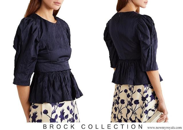 Crown Princess Mette-Marit wore Brock Collection Metallic crinkled-twill peplum navy blouse