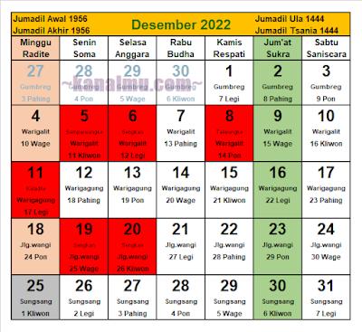 kalender jawa bulan desember 2022 - kanalmu
