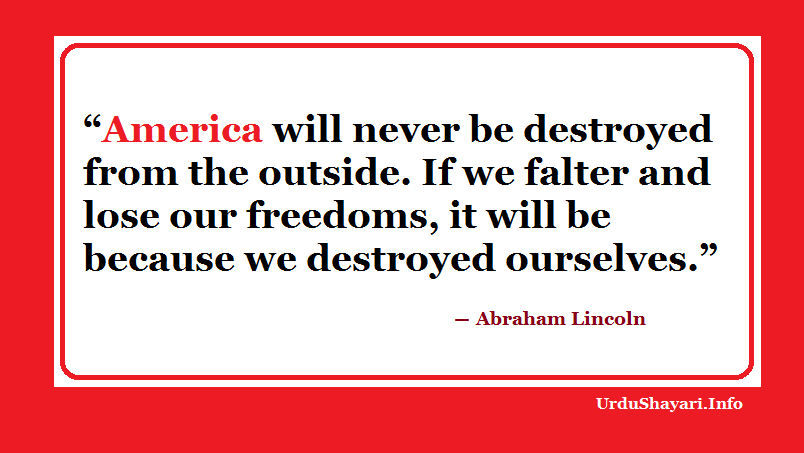 Abraham Lincoln Quote About America, Sayings on Freedom