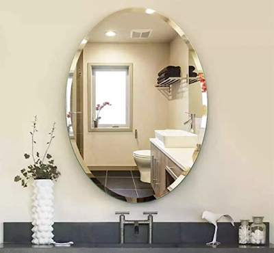 SEVEN HORSES Glass Oval Bevelled Mirror Perfect Unframed Mirror for Endless Styles