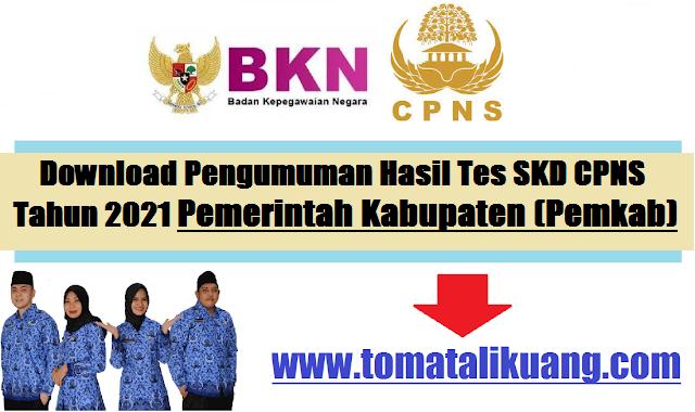 Pengumuman Hasil Tes SKD CPNS Pemkab Cirebon Tahun 2021 PDF Pemerintah Kabupaten Cirebon