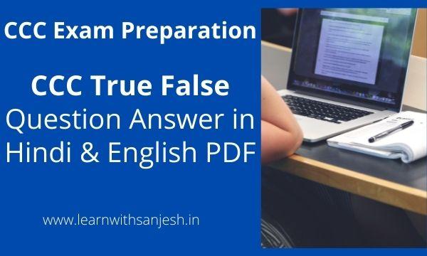 CCC Exam True False Question in Hindi | CCC True False Question Answer pdf in Hindi and English