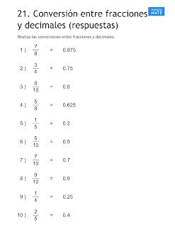 Convertir fracciones a decimales y viceversa ejercicios