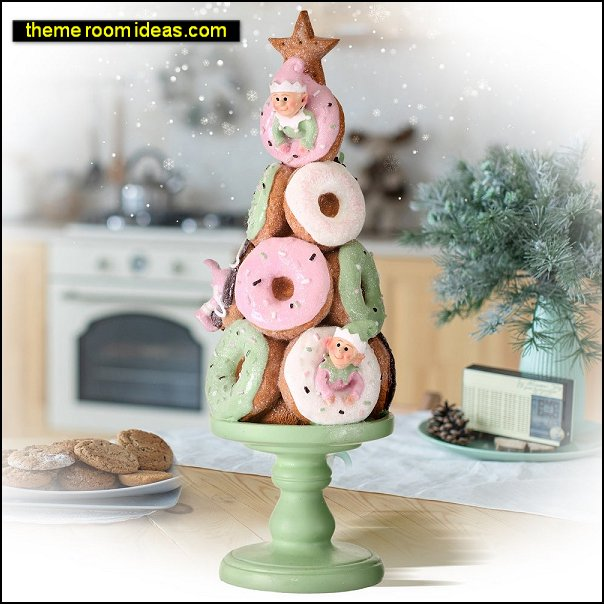 Doughnut  Elves Tree On Pedastal christmas decorations candyland christmas