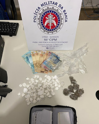 Homem é preso com cocaína, maconha  e mais de R$ 400 em dinheiro em Paramirim