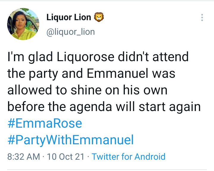 BBNaija: I'm glad Liquorose didn't attend Emmanuel's party last night - Nigerian lady says