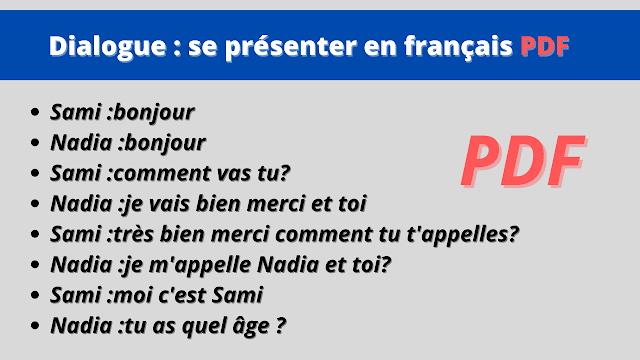 Dialogue : se présenter en français