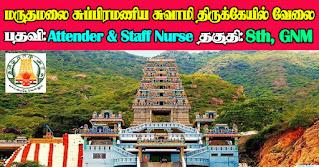 Maruthamalai Subramanya Swami Temple Recruitment 2021 06 Attender & Staff Nurse Posts