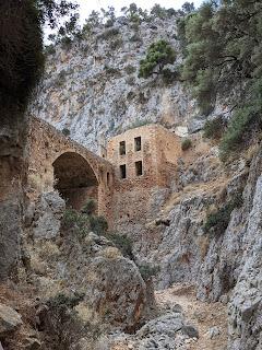 Katholiko Monastery - seen from below in gorge.