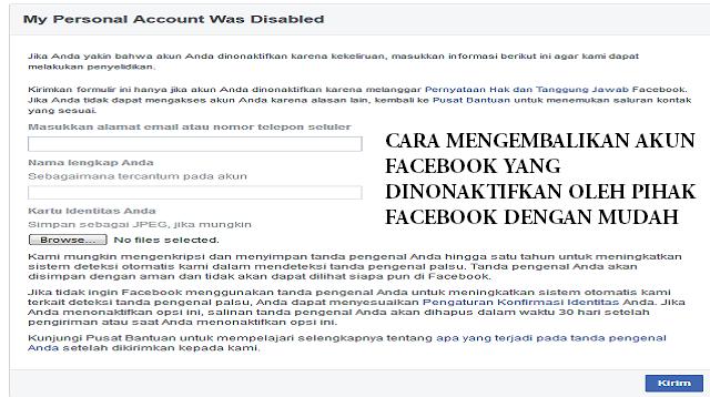 Cara Mengembalikan Akun Facebook yang Dinonaktifkan. Oleh Pihak Facebook