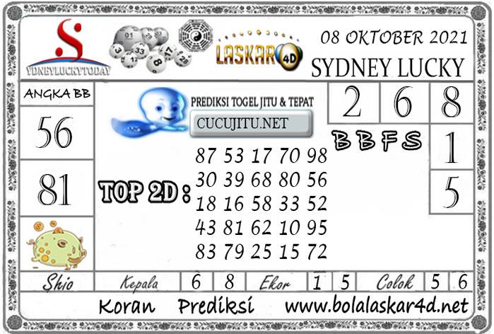 Prediksi Togel Sydney Lucky Today LASKAR4D 08 OKTOBER 2021