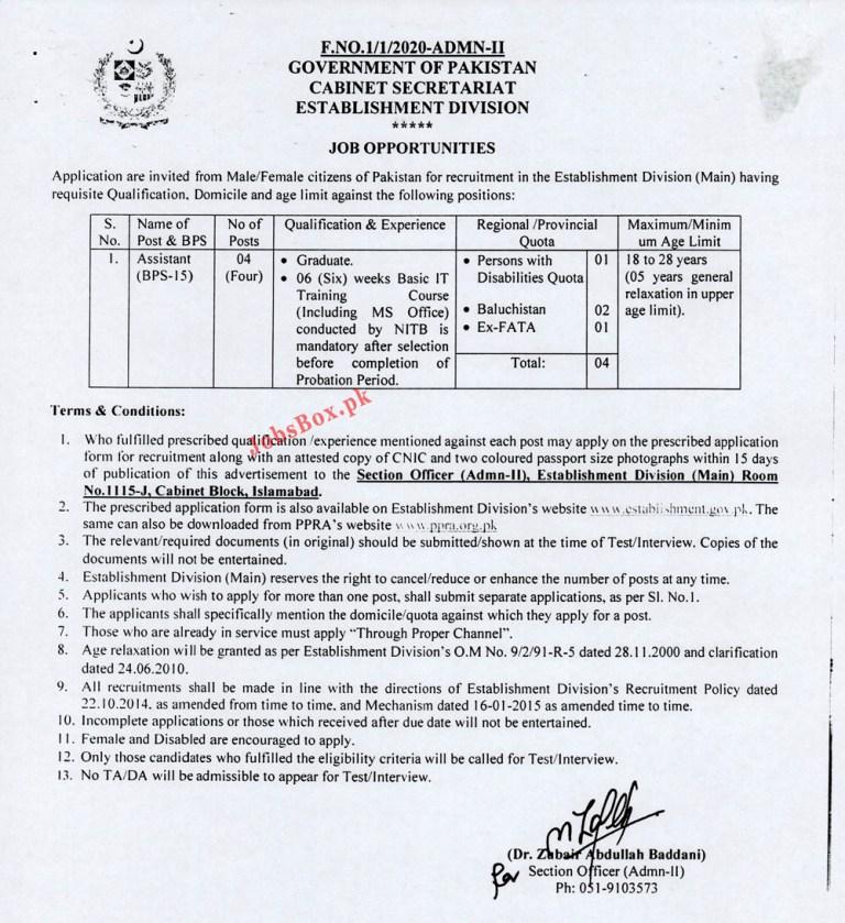 Cabinet Secretariat Establishment Division Jobs 2021 – Application Form https://establishment.gov.pk/Jobs OR www.ppra.gov.pk