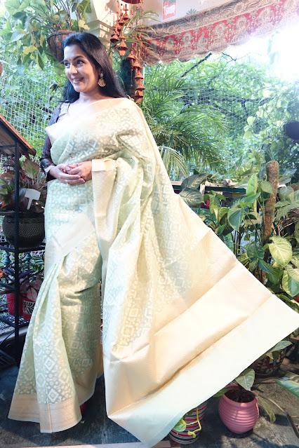 Kora silk saree. Pista green color