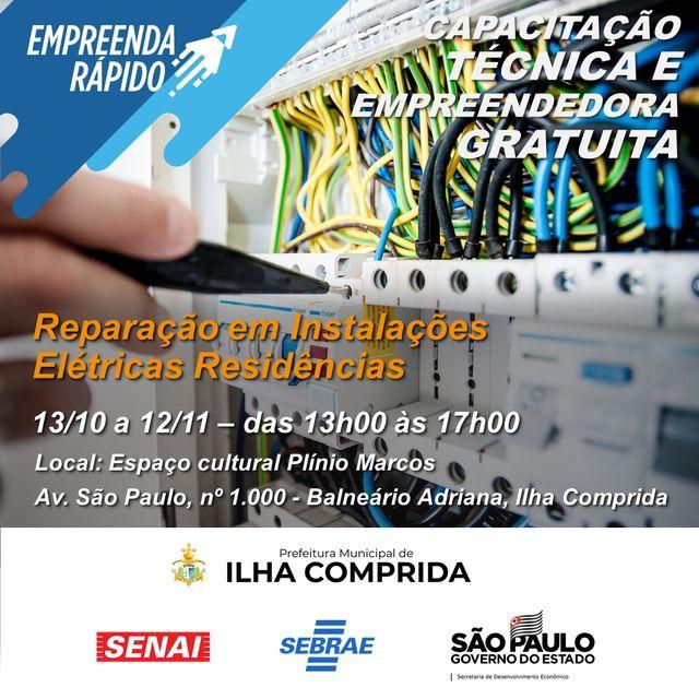 Ilha e Sebrae anunciam a abertura de inscrições para o Curso Reparação Em Instalações Elétricas Residenciais