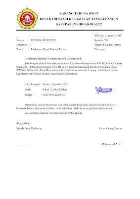 Download Contoh Surat Undangan Rapat Karang Taruna Agenda Lomba 17 Agustusan Antar Desa