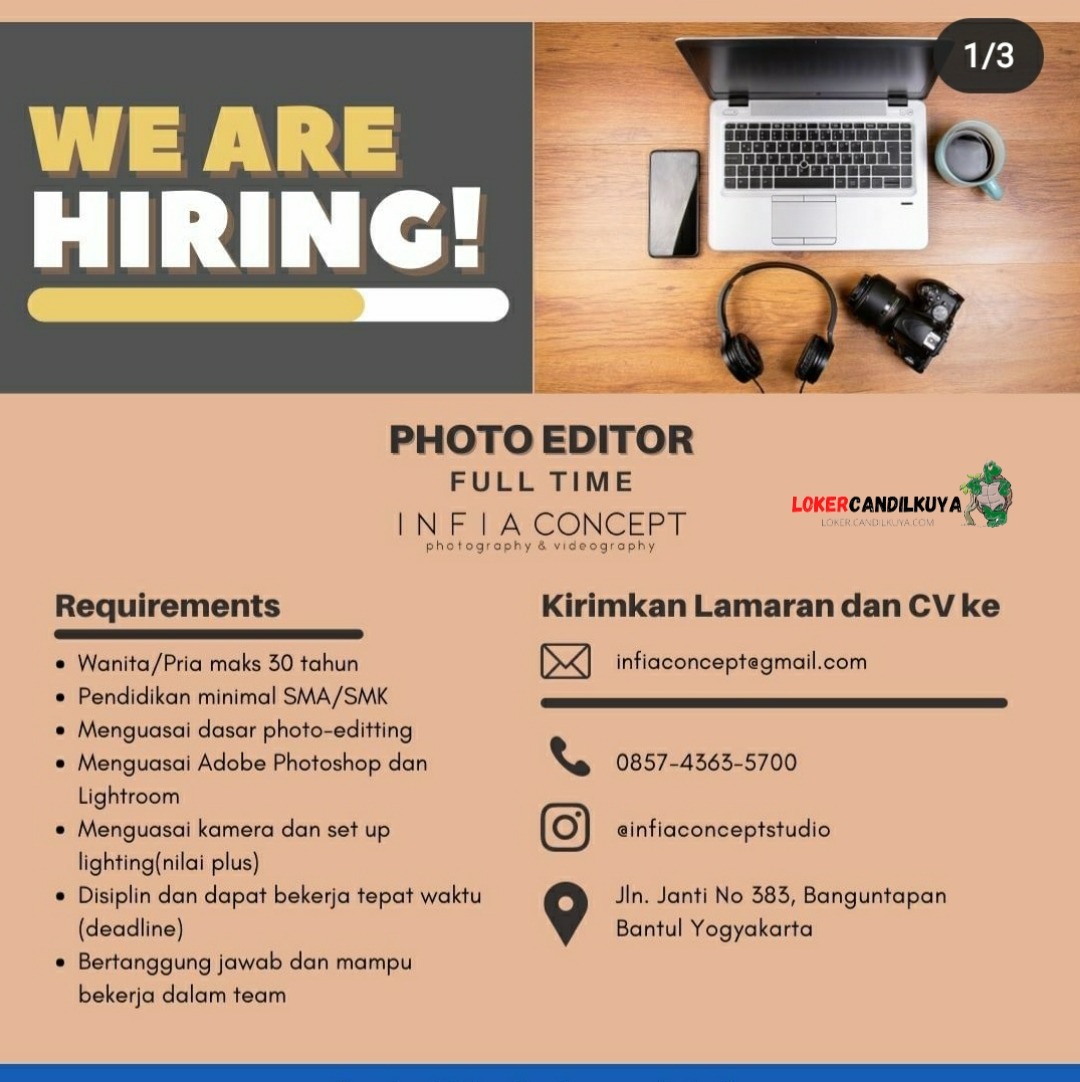 Lowongan Kerja Photo Editor Infia Concept Yogyakarta