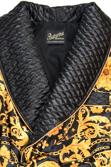mens quilted silk dressing gown smoking jacket black gold floral paisley housecoat