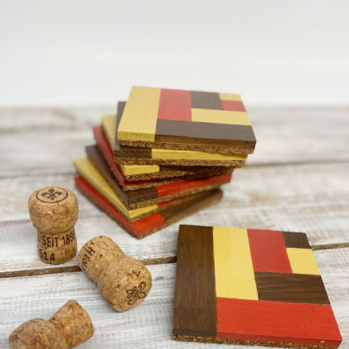 Recycled Wood Tile Mosaic Drink Coasters For Fall