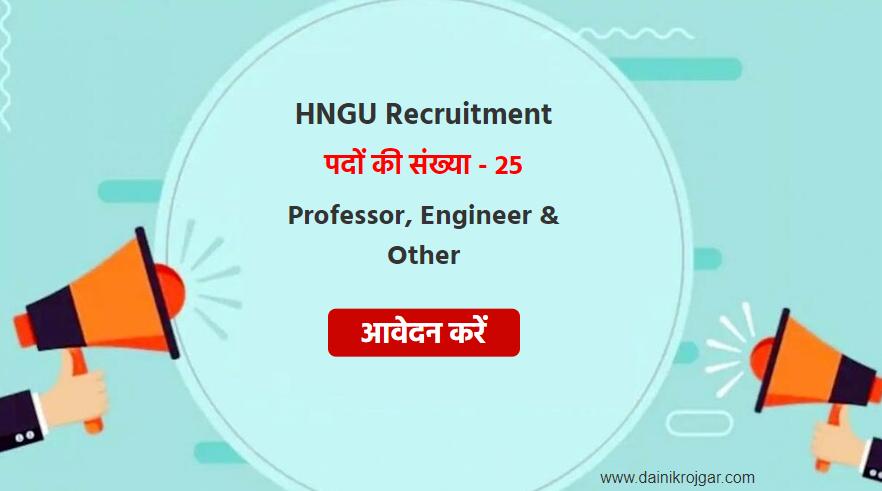 HNGU Professor, Engineer & Other 25 Posts