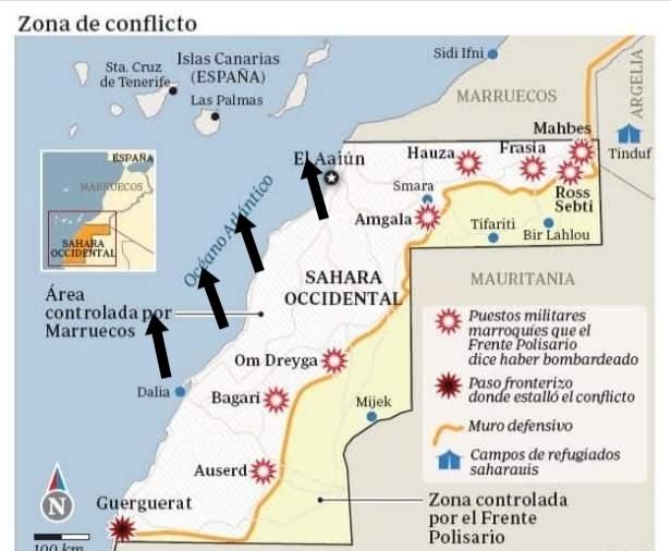 La ofensiva marroquí contra Canarias frente a los bombardeos del ejército saharaui contra el muro.
