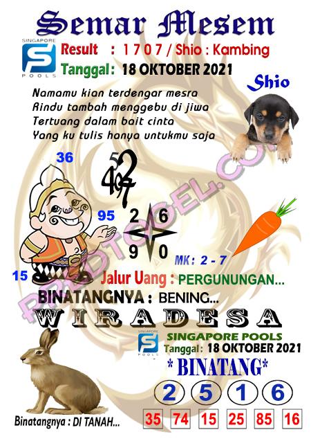Syair Semar Mesem SGP Senin 18-Oktober-2021