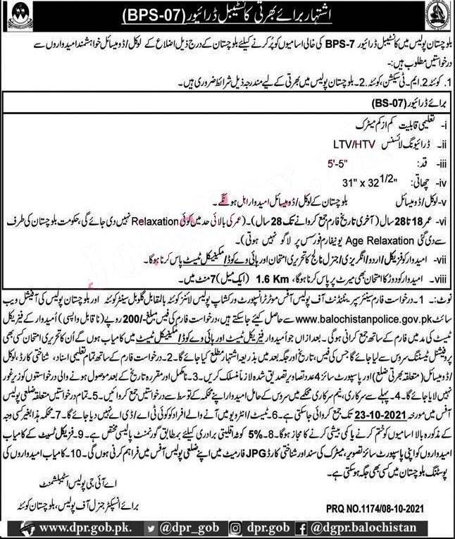 Balochistan Police Constables Latest Jobs 2021 – www.balochistanpolice.gov.pk