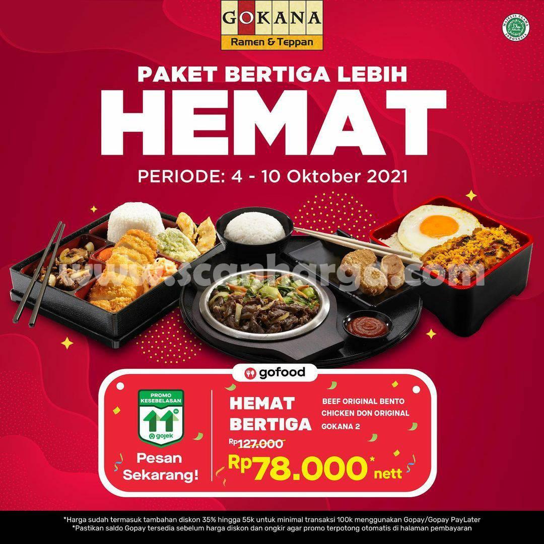 GOKANA Promo GOFOOD Paket Bertiga Lebih Hemat
