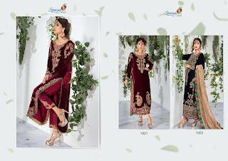 Saniya Trendz maria b vol 1 Pakistani Velvet Suits