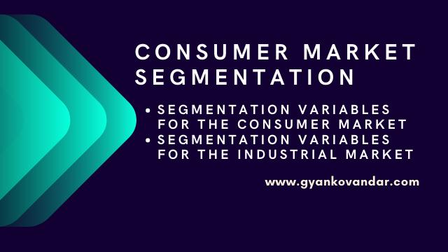 Consumer Market Segmentation | Segmentation variables for the consumer market and the industrial market