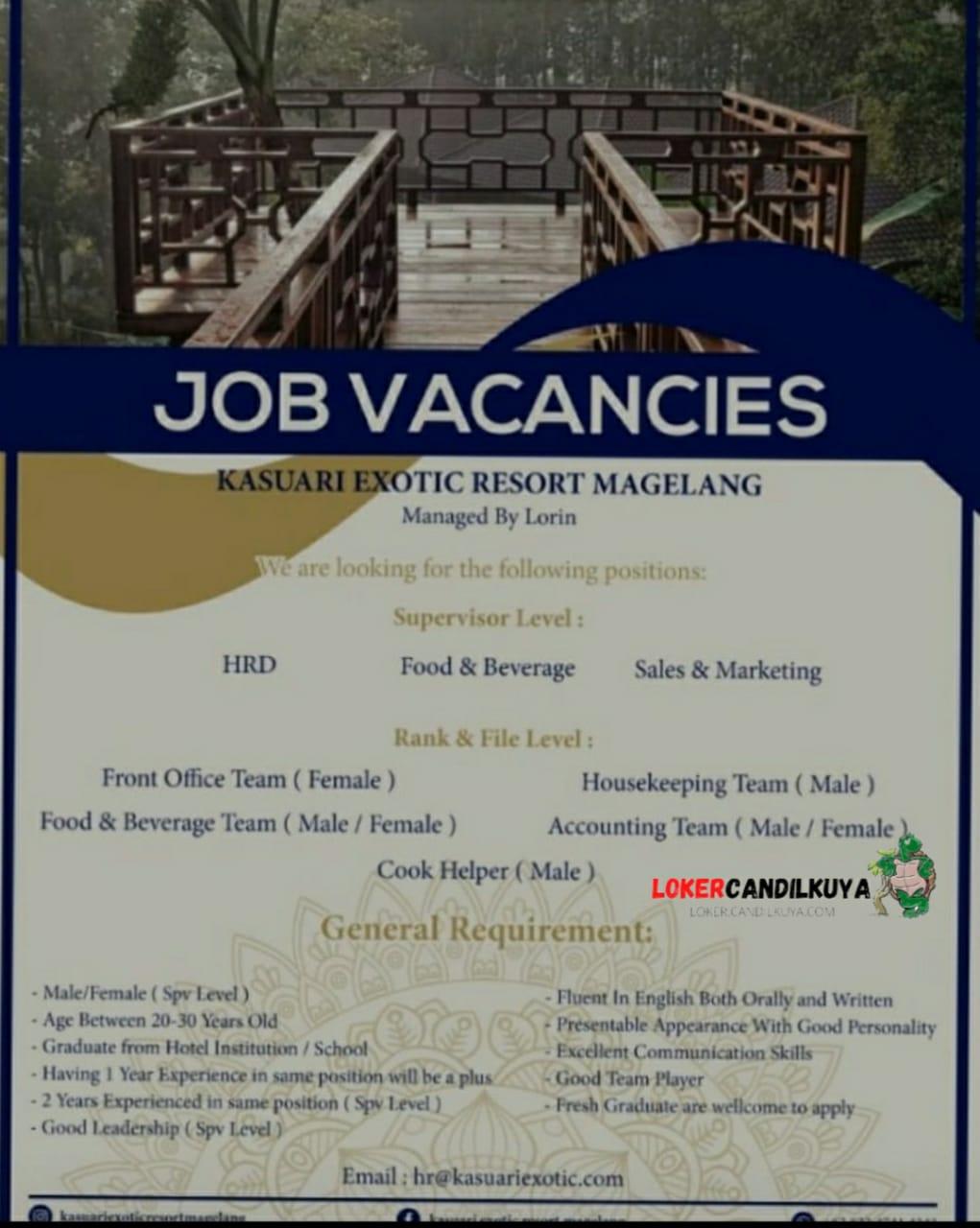 Lowongan Kerja Kasuari Exotic Resort Magelang