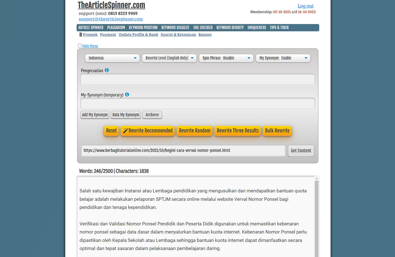 Spinner Artikel Indonesia Tools