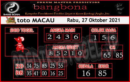 Prediksi Bangbona Toto Macau Rabu 27 Oktober 2021